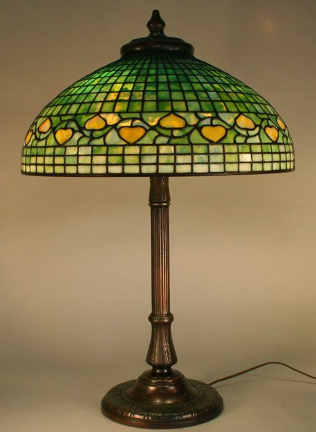 """1A: Tiffany Studios 20"""" Acorn Leaded Glass Lamp"""