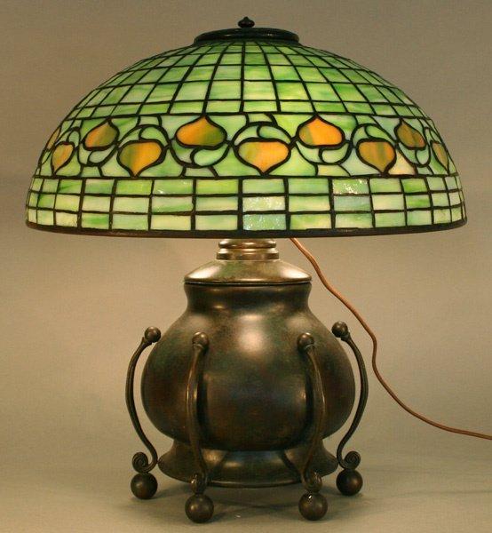1B: Tiffany Studios Acorn Leaded Glass Lamp