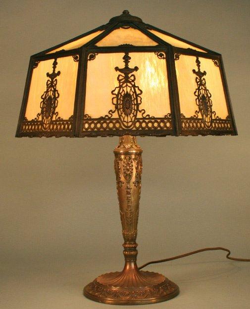 1D: Wilkinson Slag Glass Panel Lamp Matched Base