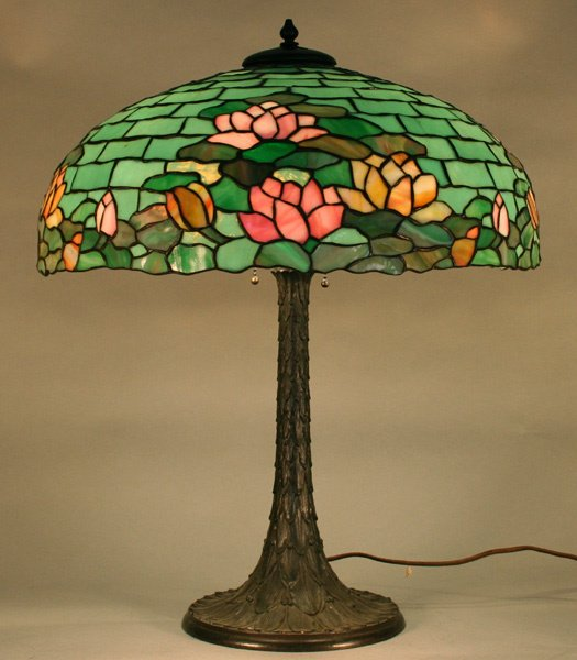 1E: Duffner & Kimberly Waterlily Leaded Glass Lamp