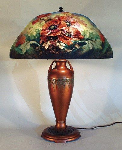 2: Moe Bridges Reverse Painted Poppy Lamp