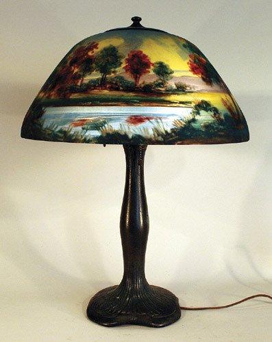 3: Moe Bridges Reverse Painted Scenic Lamp