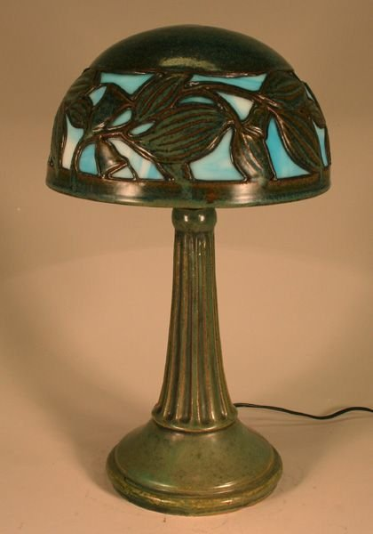 4: Fulper Pottery Lamp Shade + Base