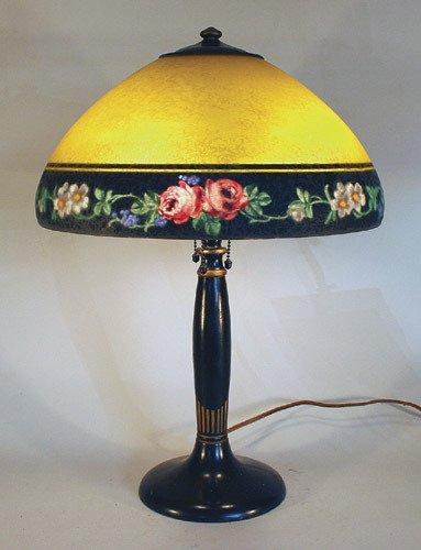 5: Handel Rose Border Reverse Painted Lamp