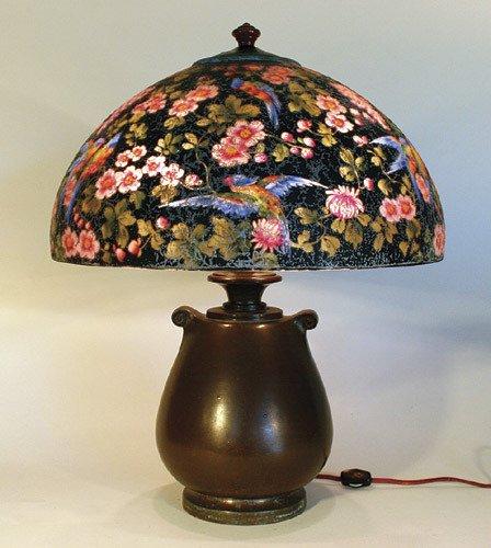 7: Handel Reverse Painted Floral & Bird Lamp