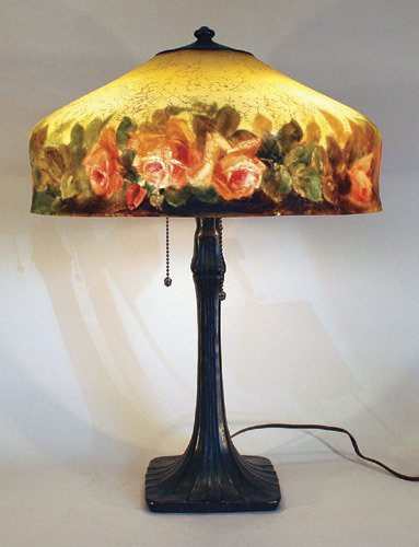 8: Handel 8 Sided Rose Reverse Painted Lamp