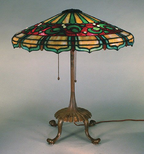 9: Suess Jewelled Leaded Glass Lamp - Great Base