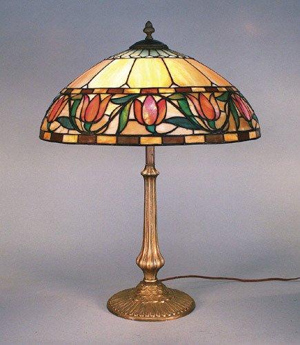 10: Williamson Floral Tulip Leaded Glass Lamp
