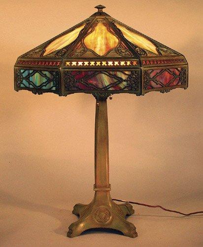 14: Bradley & Hubbard Slag Glass Panel Lamp