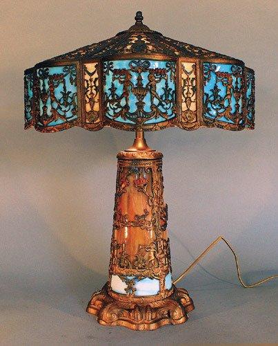 16: Signed Slag Glass Lamp w/ Lit Base
