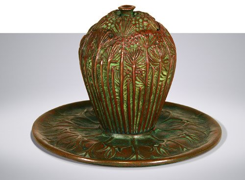74: Tiffany Studios Queen Anne Lace Inkwell