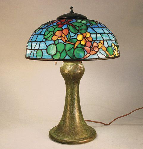 Bigelow & Kennard Leaded Glass Lamp Grueby Base
