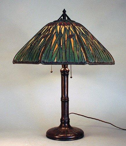 159: Handel Cattail Slag Glass Panel Overlay Lamp