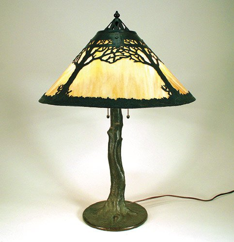 217: Handel Tree Overlay Glass Panel Lamp
