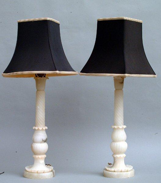 7: Pair of Alabaster Lamps