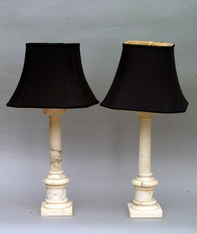 8: Pair of Marble Lamps