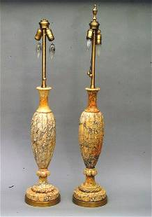 Pair of 2 Light Marble Lamps