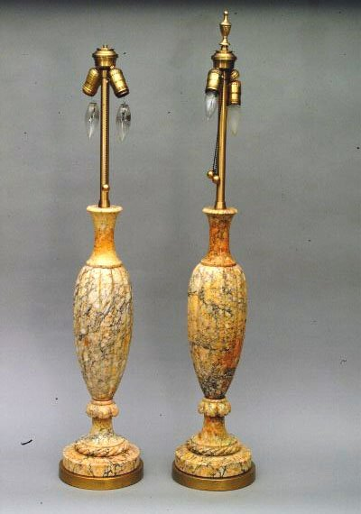 9: Pair of 2 Light Marble Lamps