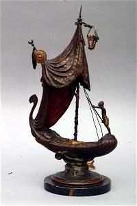 30: Bronze Gondola Lamp, circa 1900