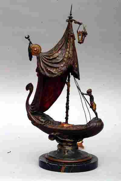 Bronze Gondola Lamp, circa 1900