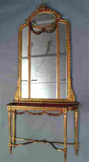 Gilt Console Mirror and Table, 19th c.