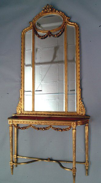 64: Gilt Console Mirror and Table, 19th c.