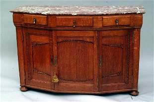 Marble Mounted Oak Server, circa 1910