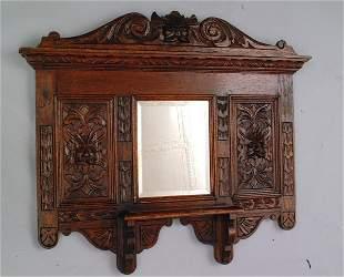 Carved Oak Hall Mirror