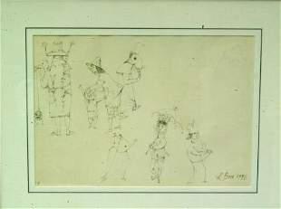 Louis Bosa, ink & graphite drawing