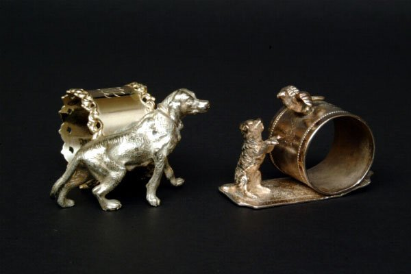 134: Two Victorian Figural Dog Napkin Rings