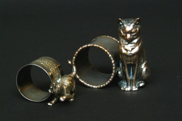 236: Two Victorian Figural Cat Napkin Rings