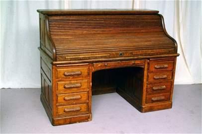 278: Massive Oak Roll Top Desk, circa 1880