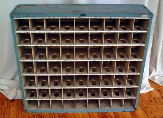 341A: Primitive Wooden Mail Sorting Rack