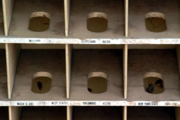 341A: Primitive Wooden Mail Sorting Rack - 5