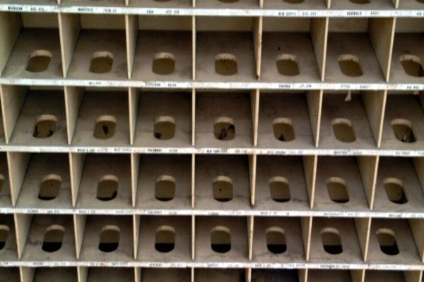 341A: Primitive Wooden Mail Sorting Rack - 6