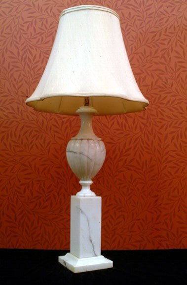 394: White Marble Table Lamp