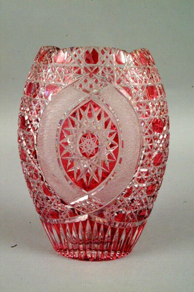 768: A Ruby Cut Glass Vase, early 20th C