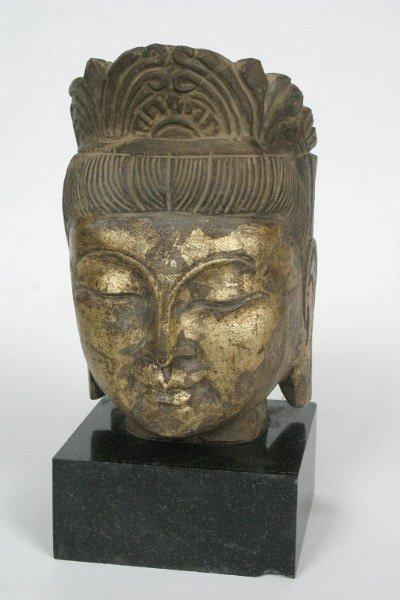 1: Stone Buddha Head, 20th c.