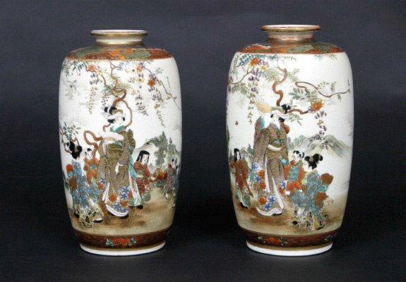14: Pair of Satsuma Vases