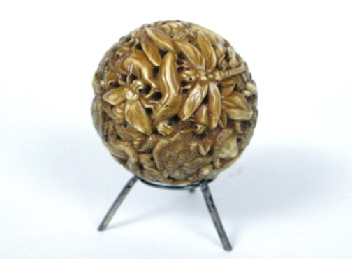 22: 19th c. Ivory Puzzle Ball