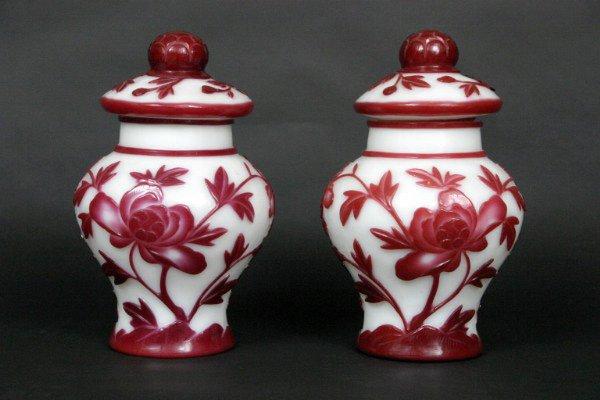 24: Pair Peking Glass Vases, 19thc