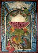349: Large Folk Art Painting on Board