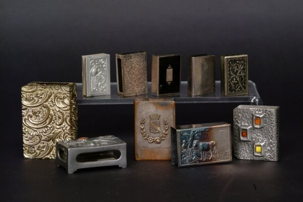 22: Lot of Silvered Match Box Holders