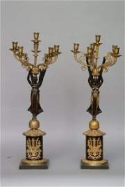 109: A Pair of Bronze Figural Candelabra