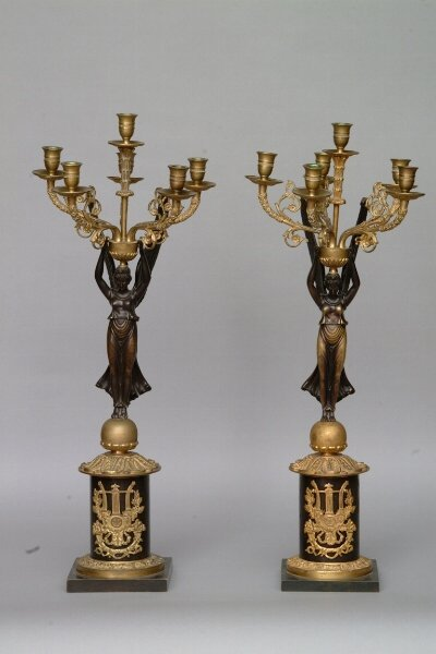 109: A Pair of Bronze Figural Candelabra