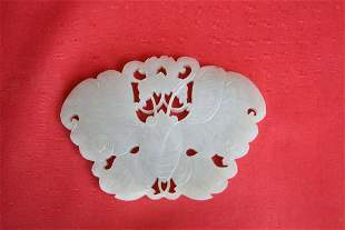 Chinese Carved White Jade Butterfly