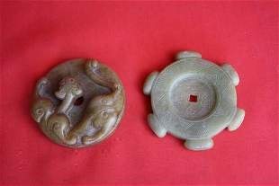 Chinese carved jade two pieces Bi disks