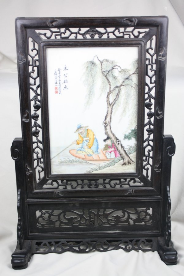 3006: Chinese Famille Rose Porcelain Plaque Table Scree