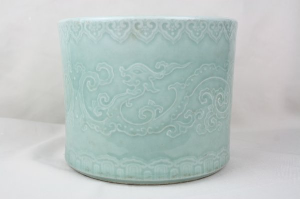 3023: Chinese Celadon Glazed Porcelain Brush Pot