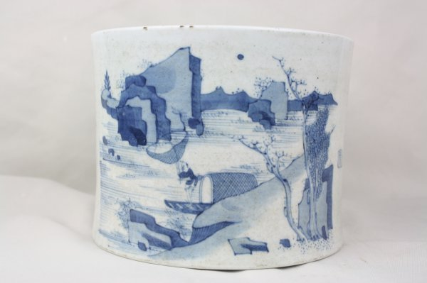 3024: Chinese Blue and White Porcelain Brush Pot